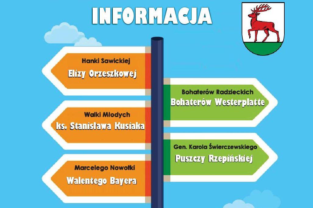 Ilustracja do informacji: Uwaga! Zmiana nazw ulic w Rzepinie.