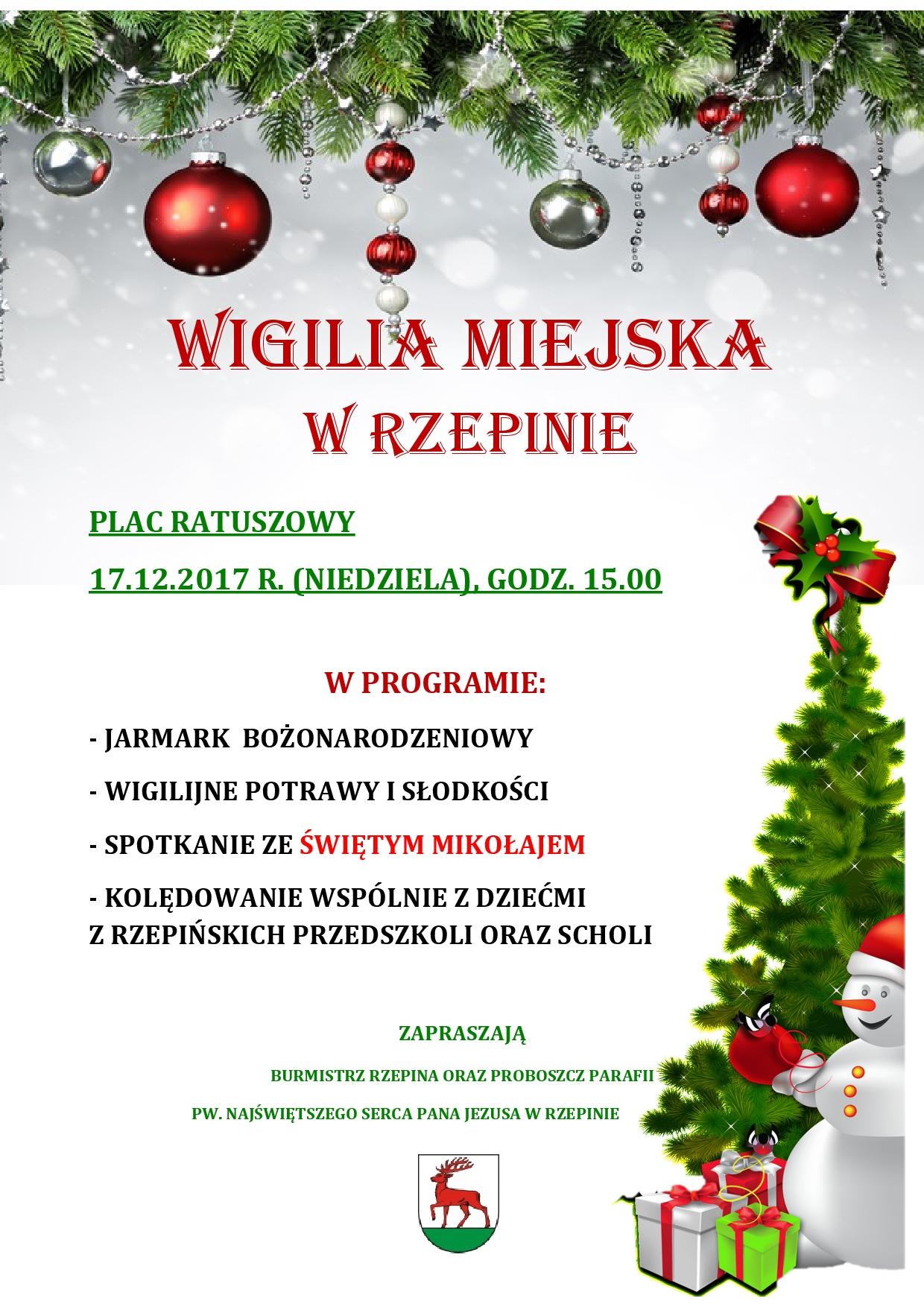 Ilustracja do informacji: Zapraszamy na Wigilię Miejską w Rzepinie!