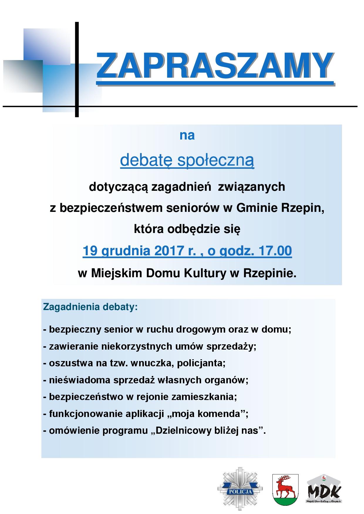 Ilustracja do informacji: Zapraszamy na debatę społeczną dot. bezpieczeństwa seniorów w Gminie Rzepin