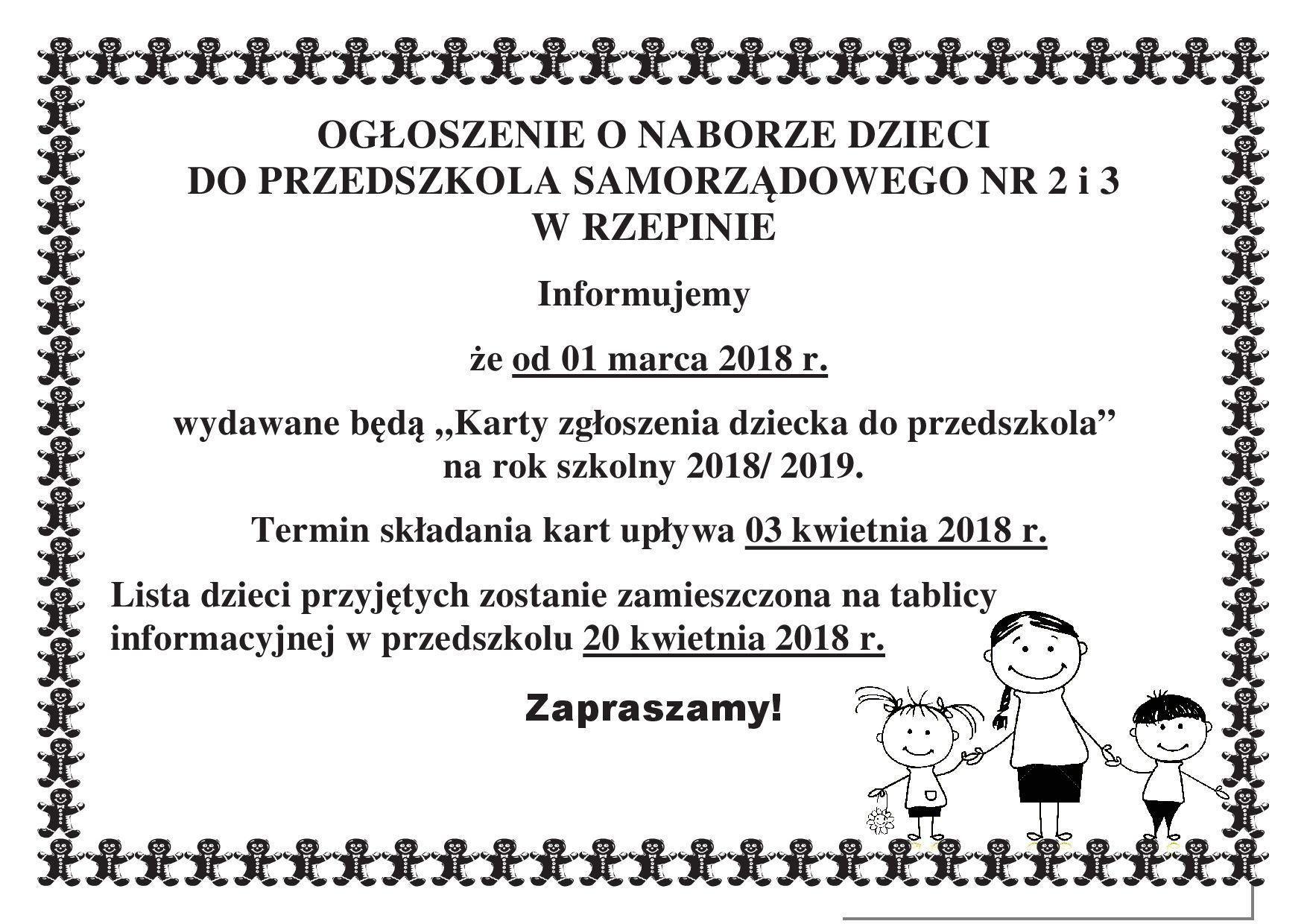 Ilustracja do informacji: Ogłoszenie o naborze dzieci do Przedszkoli Samorządowych nr 2 i 3 w Rzepinie
