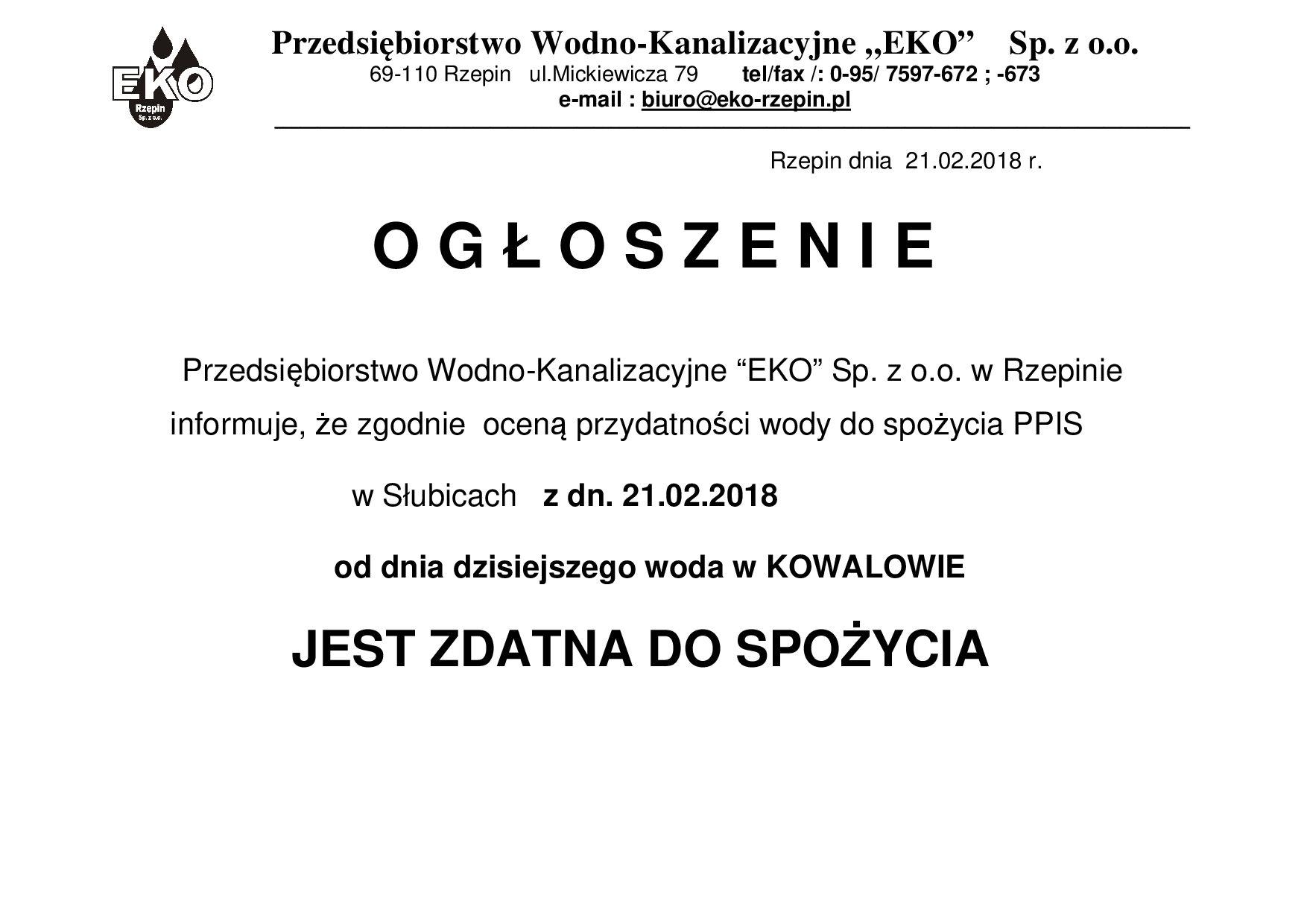 Ilustracja do informacji: Uwaga! Woda w Kowalowie zdatna do picia.