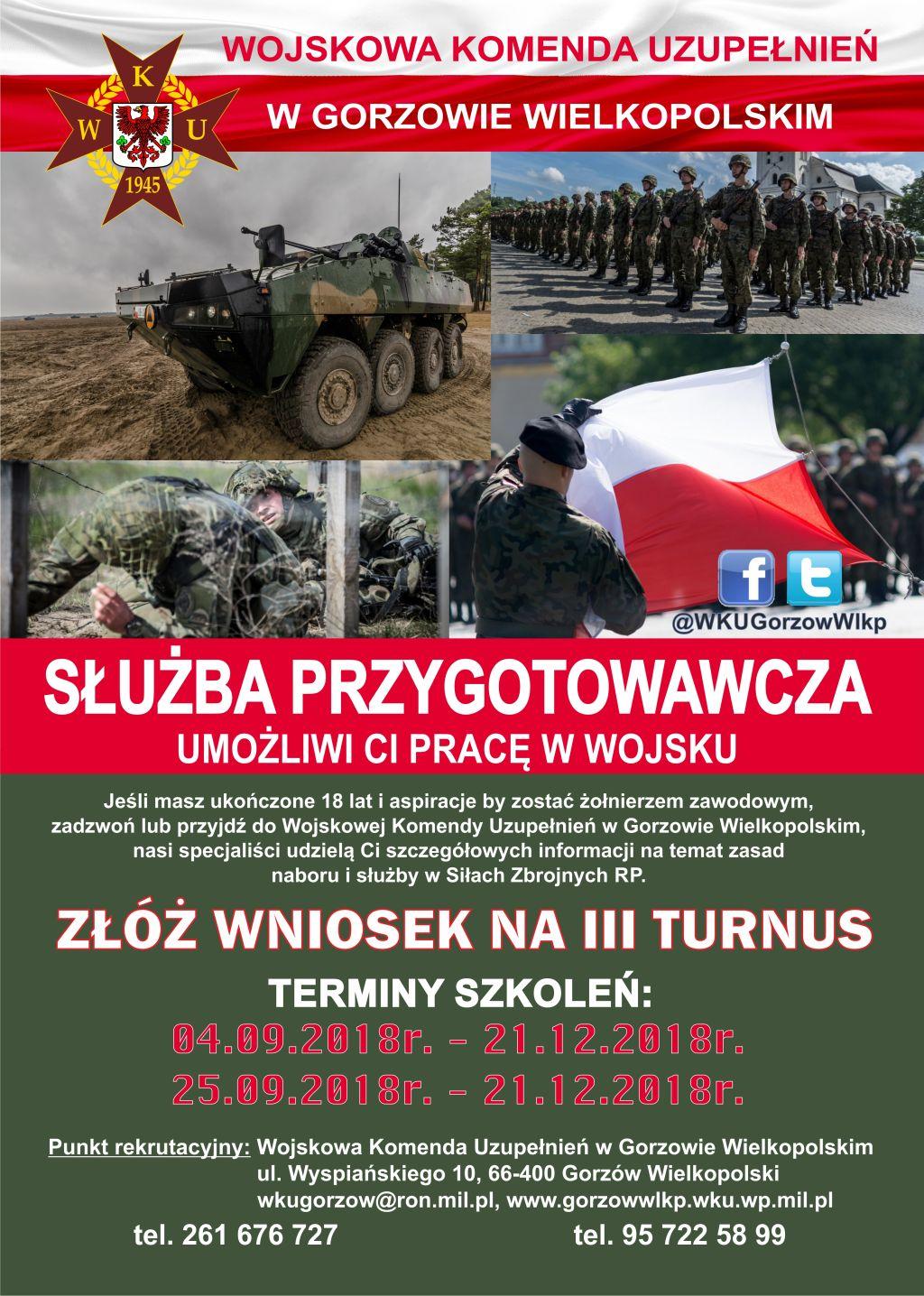 Ilustracja do informacji: Wojskowa Komenda Uzupełnień w Gorzowie Wlkp. prowadzi nabór do służby przygotowawczej