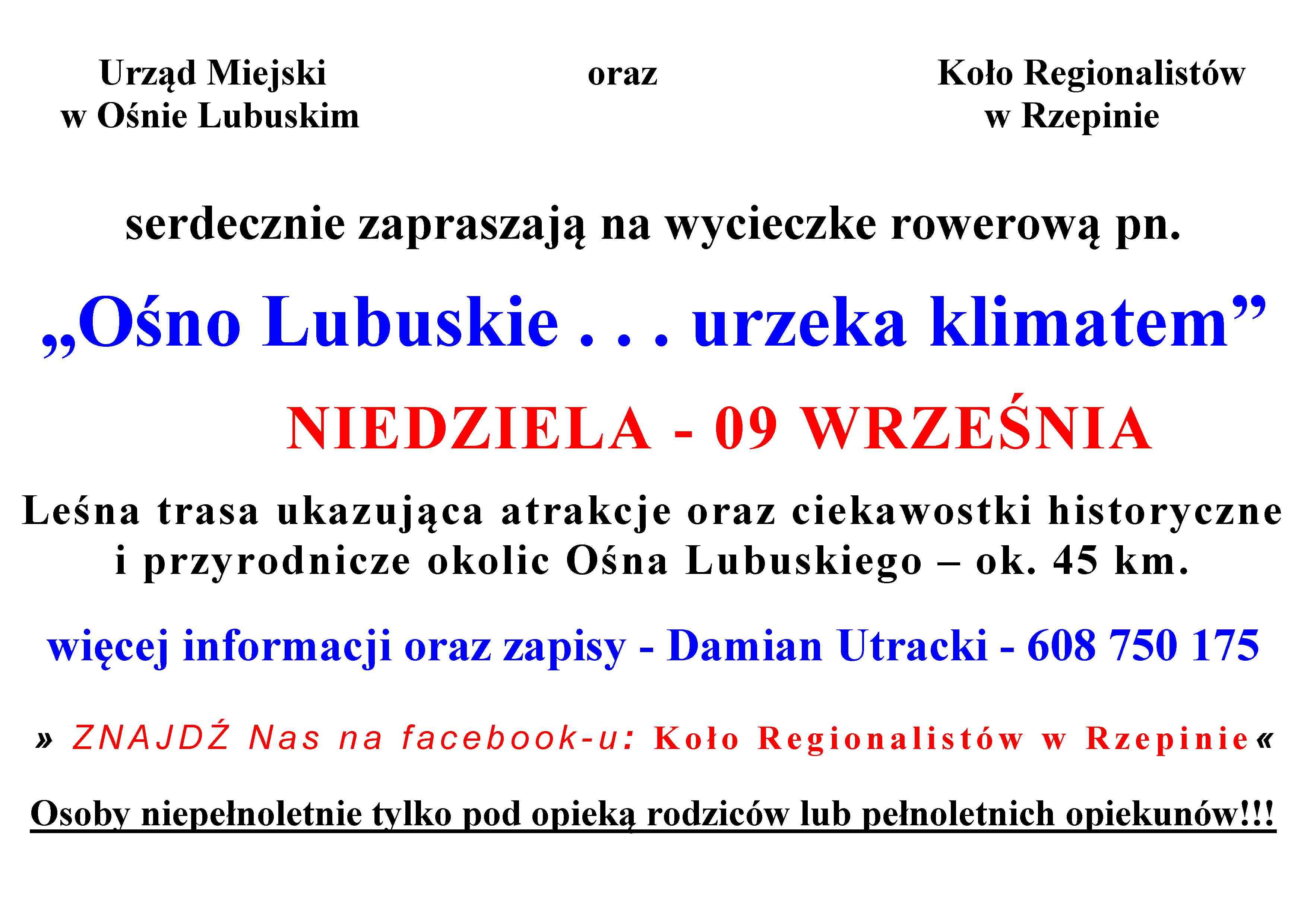 Ilustracja do informacji: Koło Regionalistów w Rzepinie zaprasza na kolejną wycieczkę rowerową!