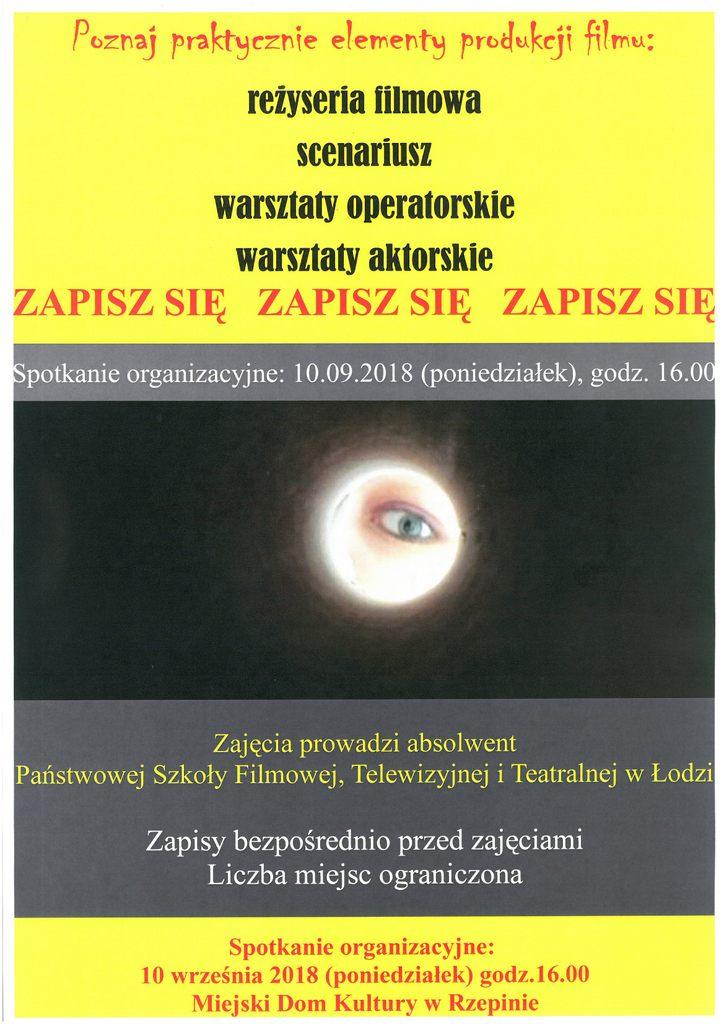 Ilustracja do informacji: Zapraszamy na warsztaty filmowe do MDK w Rzepinie