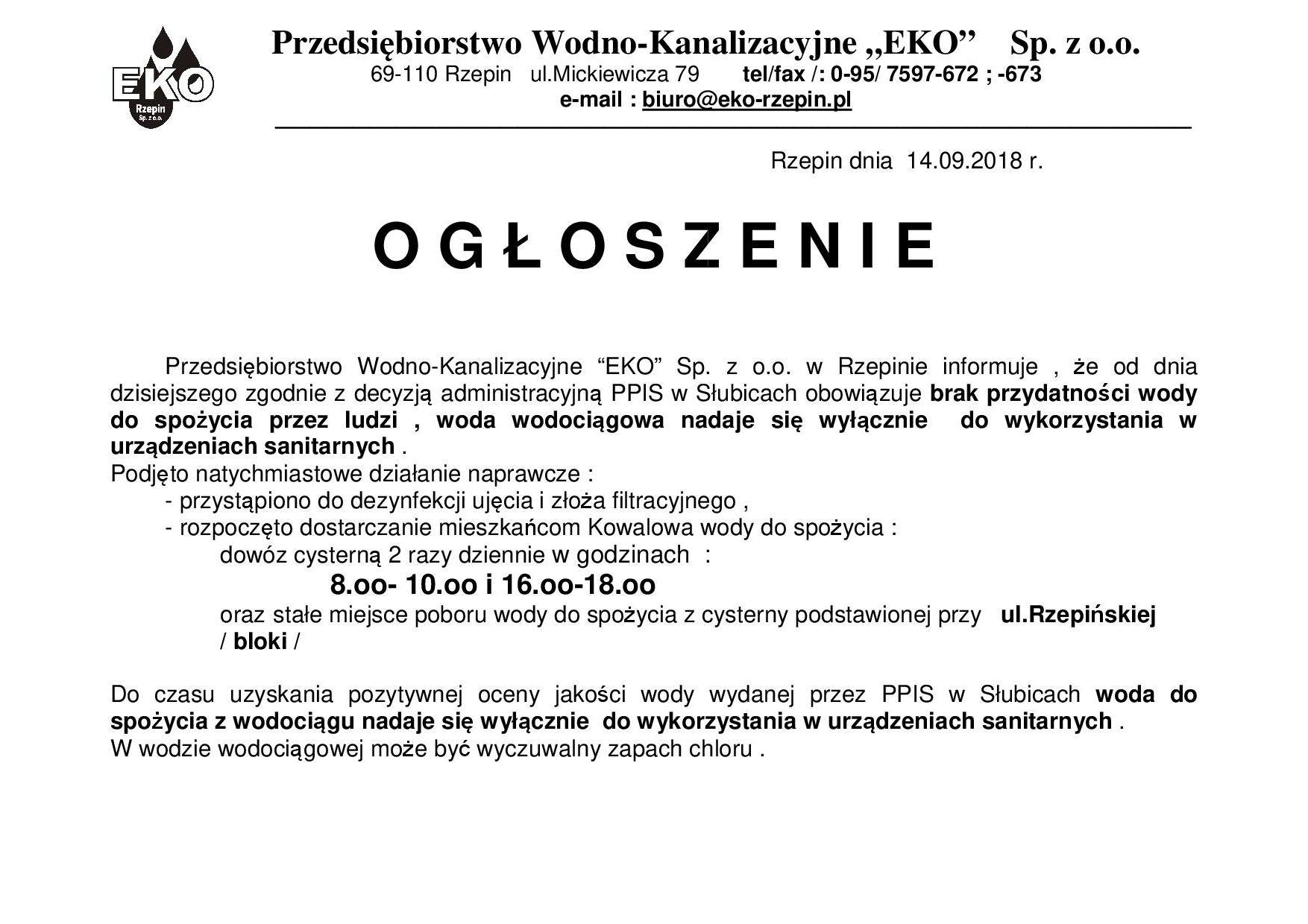 Ilustracja do informacji: Ogłoszenie EKO Sp. z o.o.