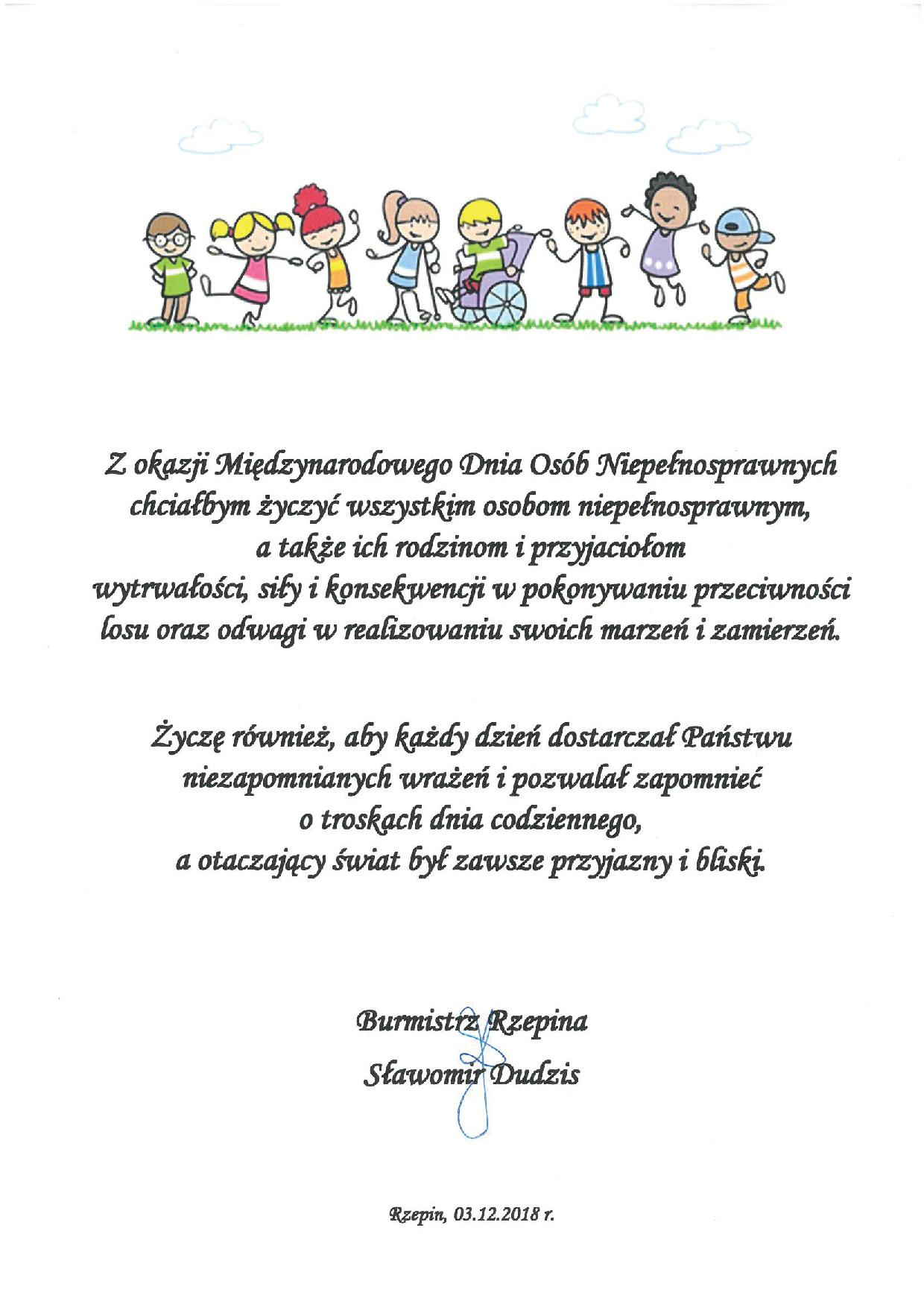 Ilustracja do informacji: Życzenia z okazji Międzynarodowego Dnia Osób Niepełnosprawnych
