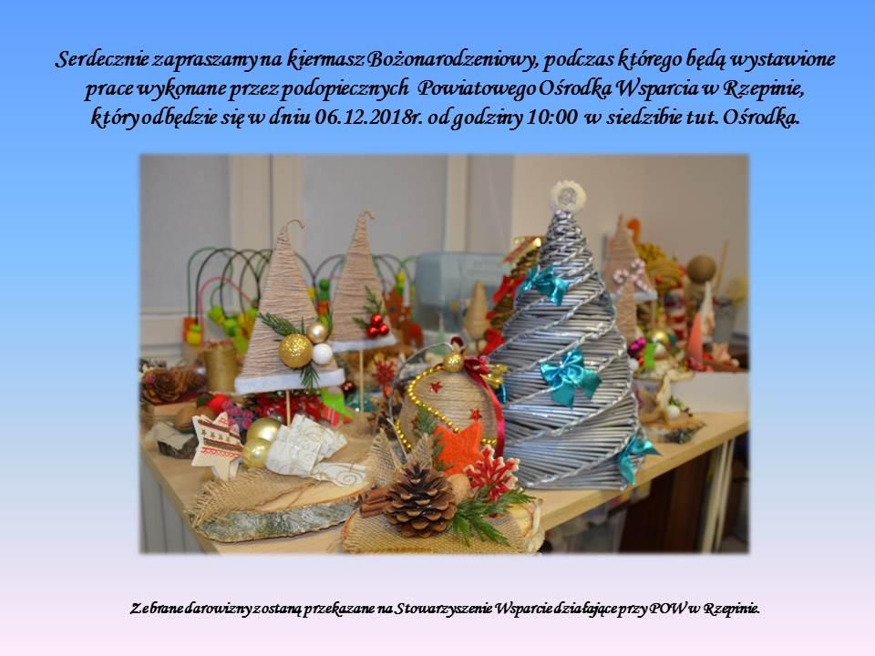 Ilustracja do informacji: Uczestnicy Powiatowego Ośrodka Wsparcia w Rzepinie zapraszają na wystawę ozdób świątecznych