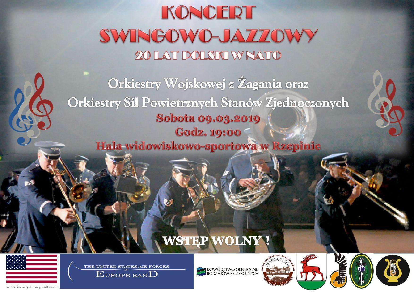 Ilustracja do informacji: Zapraszamy na koncert swingowo - jazzowy Orkiestry Wojskowej z Żagania i Orkiestry Sił Powietrznych Stanów Zjednoczonych!
