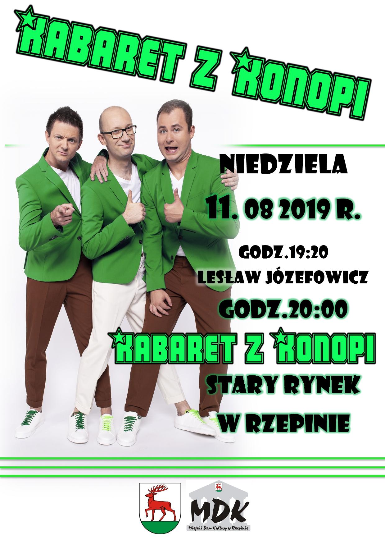 Ilustracja do informacji: Do Rzepina zawita Kabaret z Konopi!! Serdecznie zapraszamy na Stary Rynek w Rzepinie.