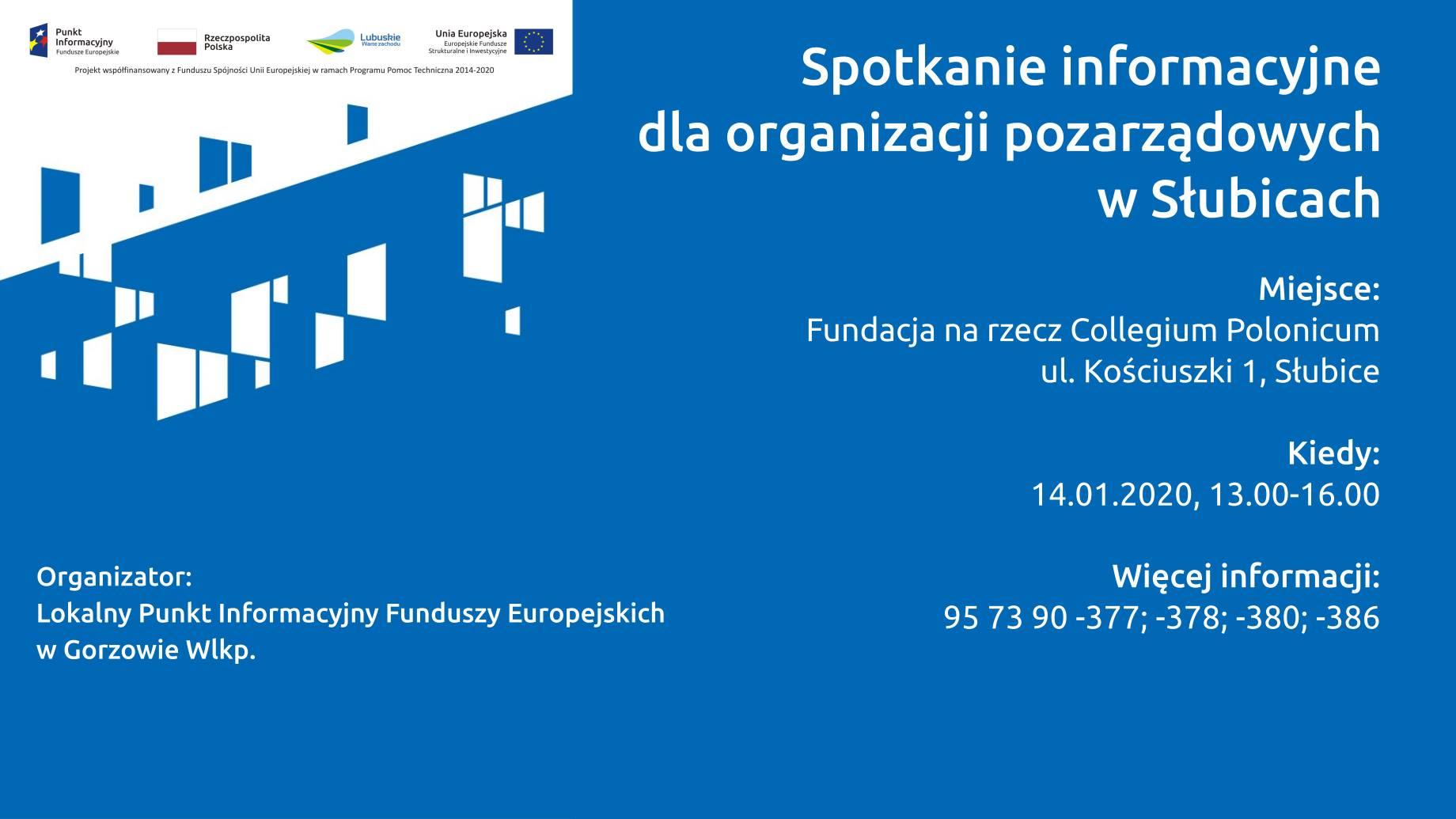 Ilustracja do informacji: Spotkanie informacyjne dla organizacji pozarządowych w Słubicach -14.01.2020 r.