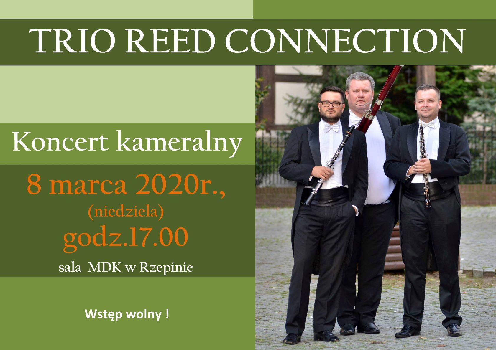 Ilustracja do informacji: Zapraszamy na koncert kameralny w wykonaniu TRIO REED CONNECTION