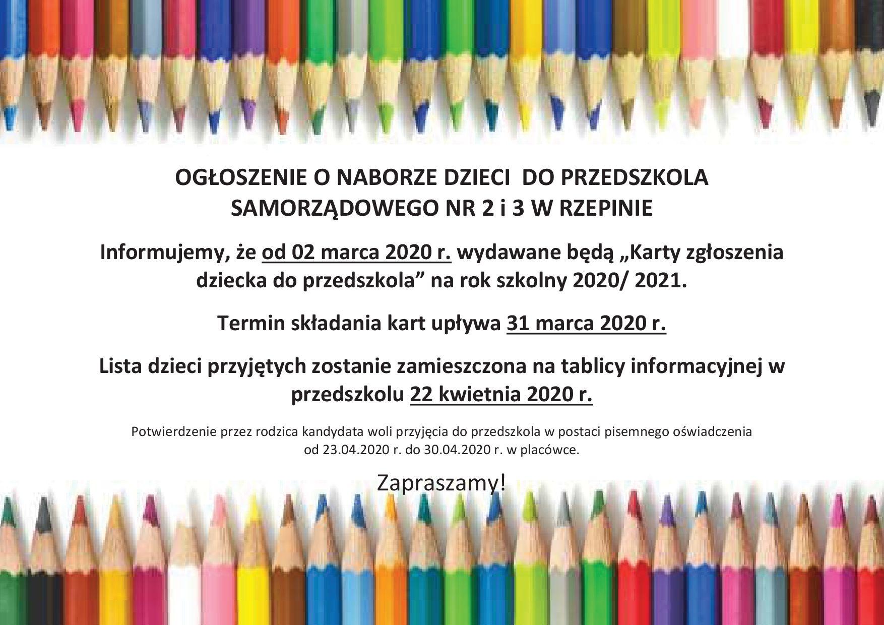 Ilustracja do informacji: Rekrutacja do Przedszkoli Samorządowych nr 2 i 3 w Rzepinie