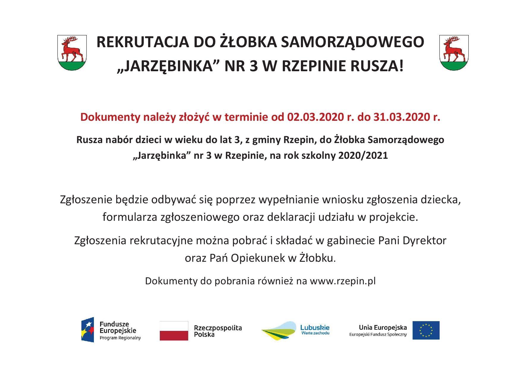 Ilustracja do informacji: Rekrutacja do Żłobka Samorządowego w Rzepinie