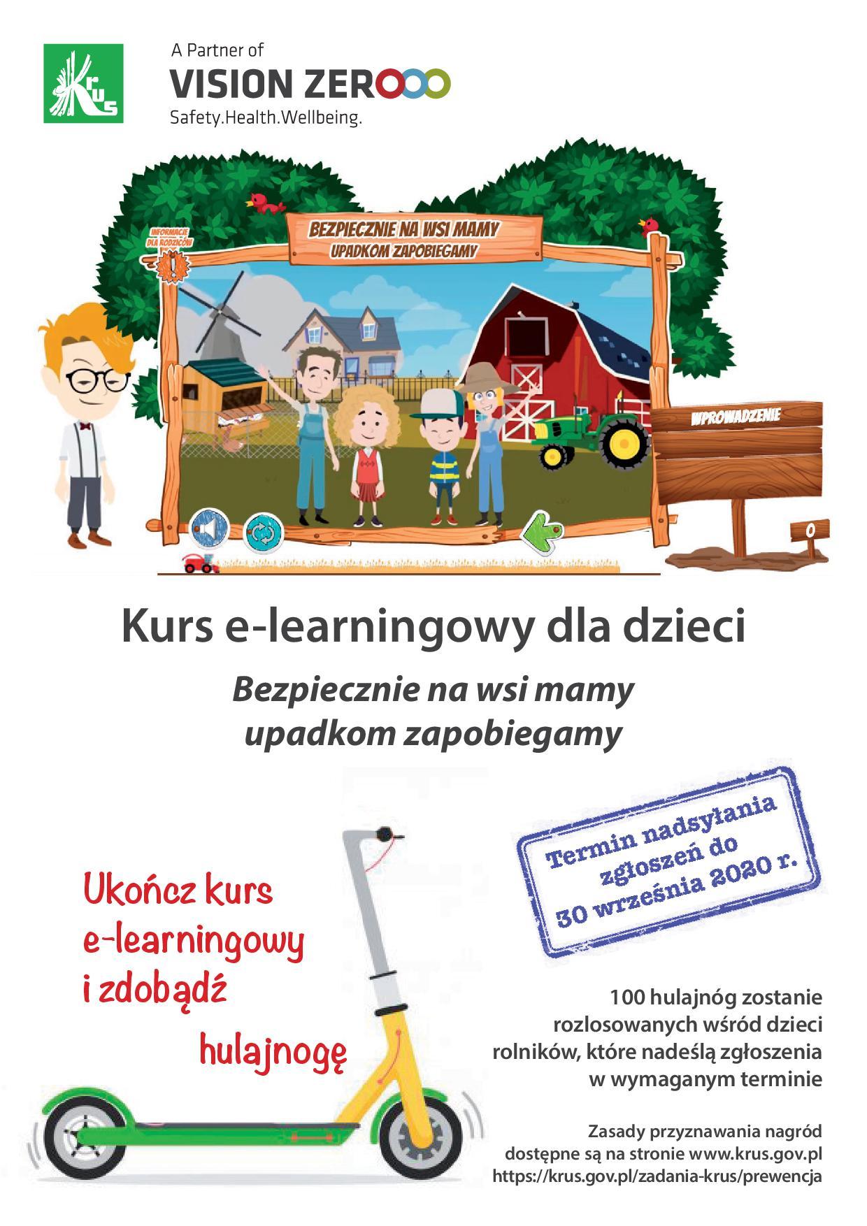 """Ilustracja do informacji: Szkolenie e-learningowe dla dzieci """"Bezpiecznie na wsi mamy – upadkom zapobiegamy"""""""