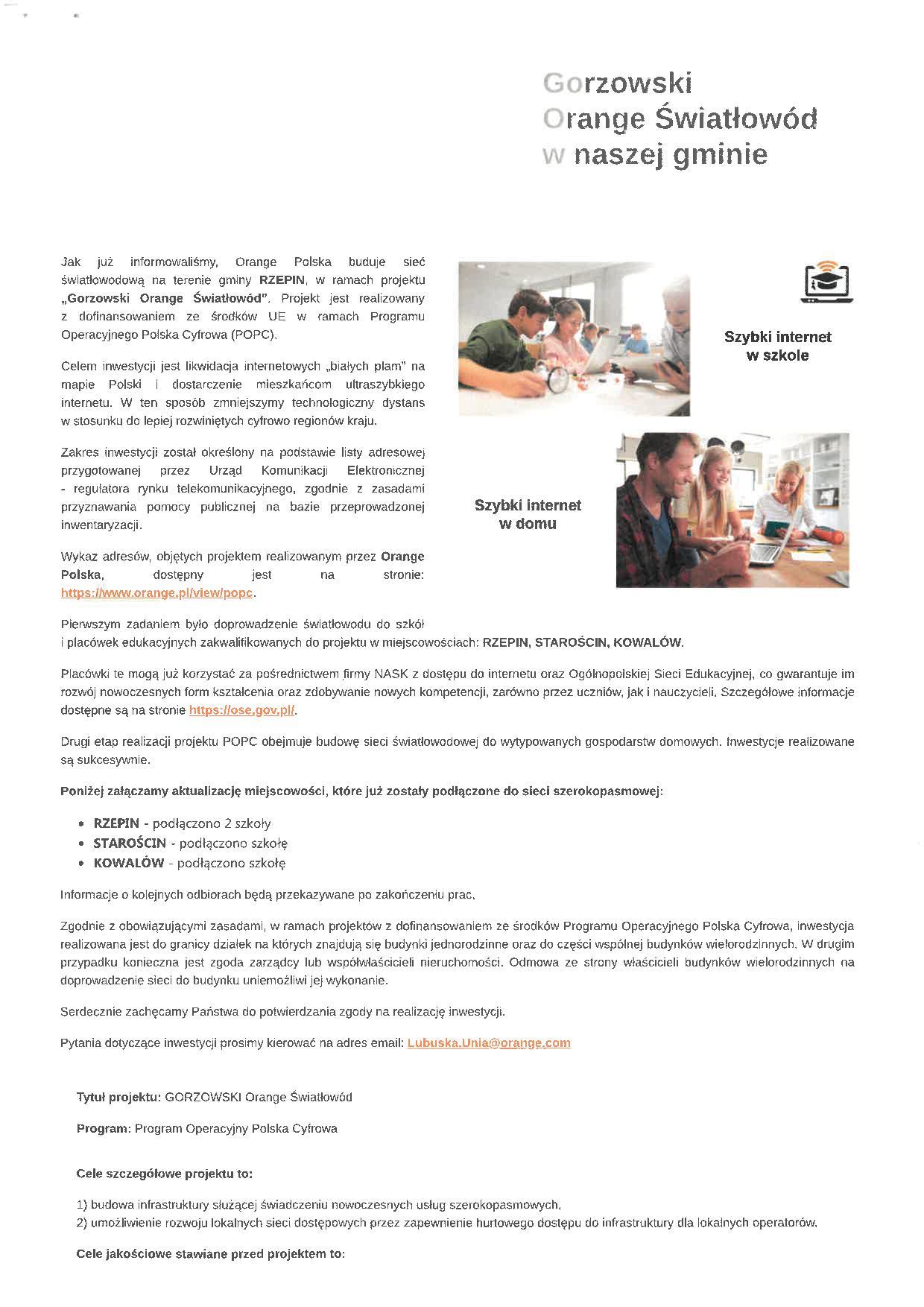 Ilustracja do informacji: Budowa sieci światłowodowej POPC