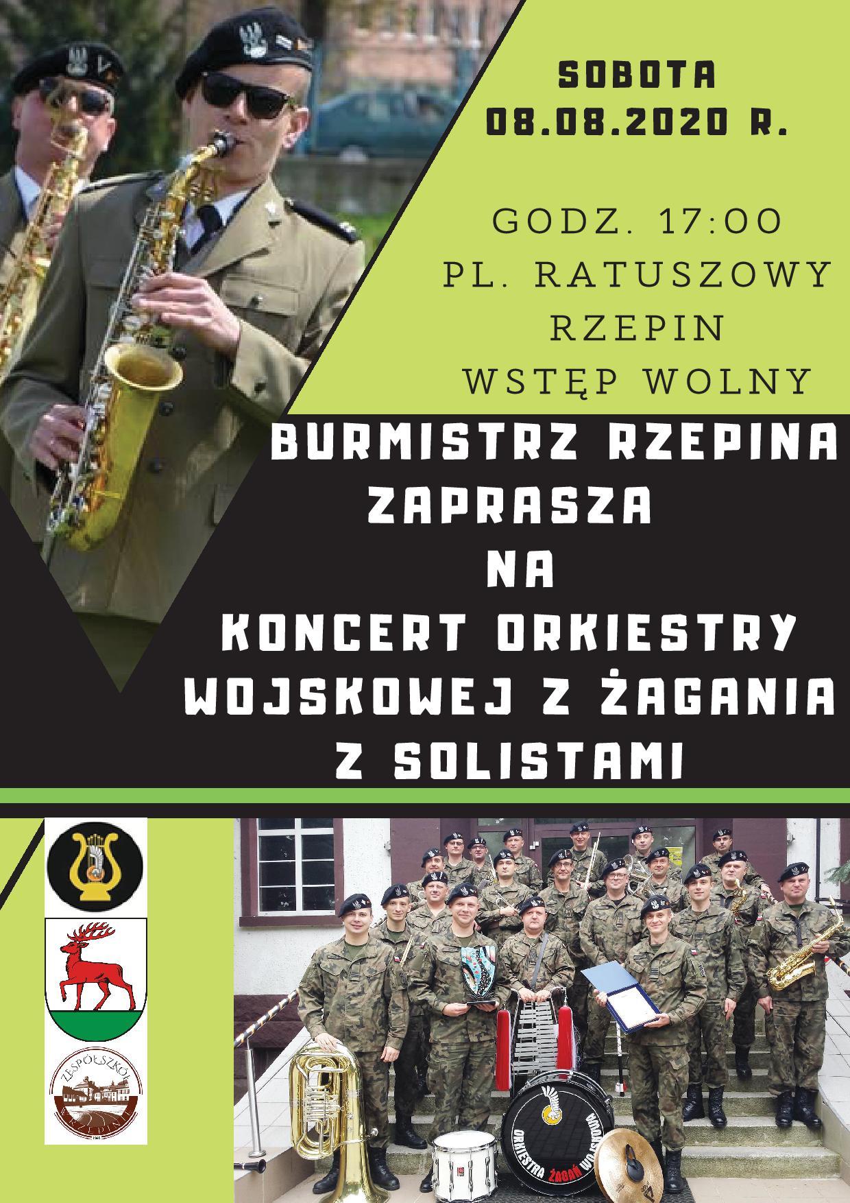 Ilustracja do informacji: Burmistrz Rzepina zaprasza na koncert Orkiestry Wojskowej z Żagania z solistami