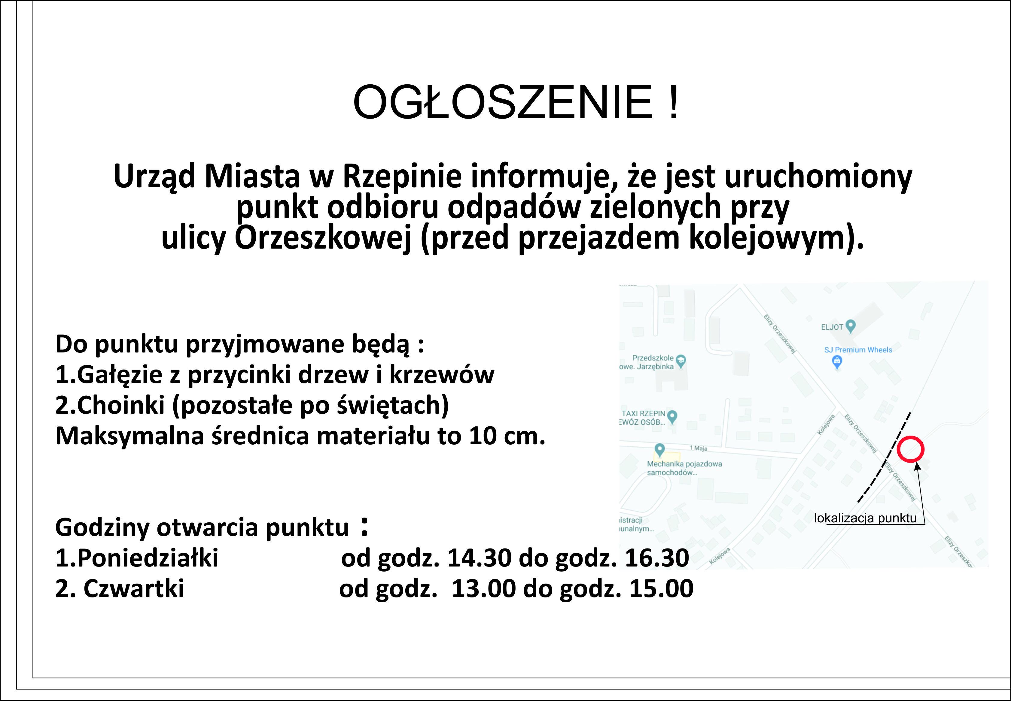 Ilustracja do informacji: Ogłoszenie!! Uruchomiony został punkt odbioru odpadów zielonych przy ulicy Orzeszkowej