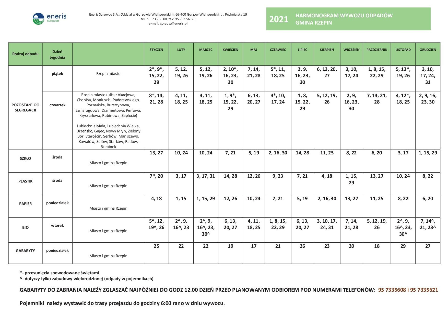 Ilustracja do informacji: Harmonogram wywozu odpadów w Gminie Rzepin w 2021 r.