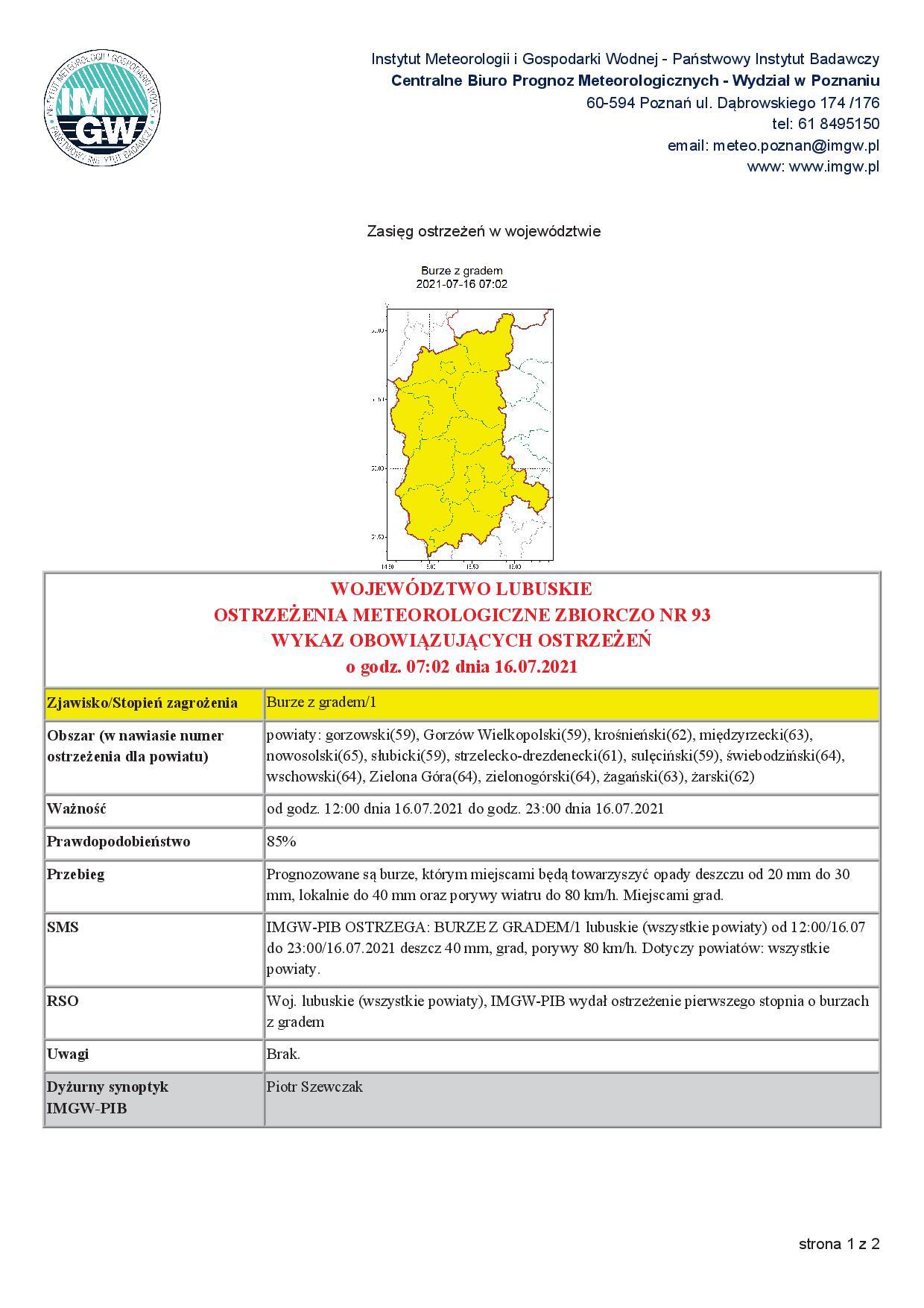 Ilustracja do informacji: Ostrzeżenie meteorologiczne.